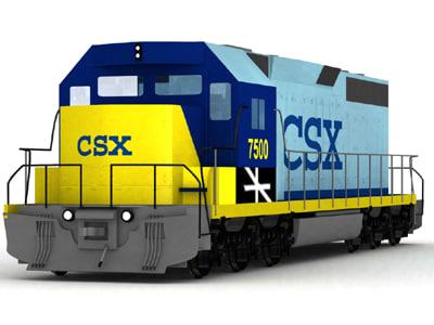 sd40-20 locamotive csx 3d model