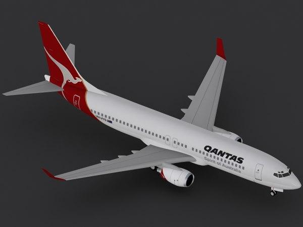 b 737-800 qantas 3d 3ds
