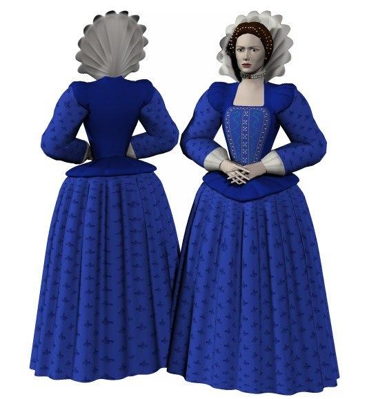 costume lady elizabethan poser 3d model