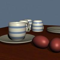 cups eggs 3d model