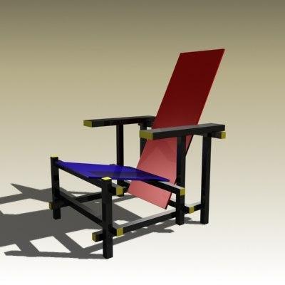 3d model gerrit rietveld chair