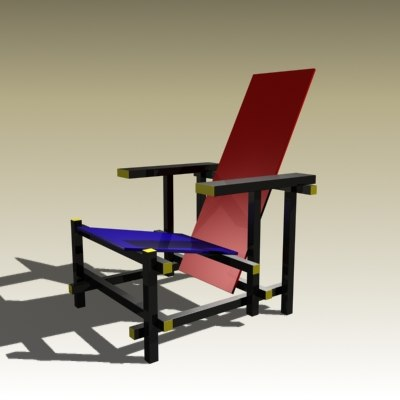 3d model gerrit rietveld chair