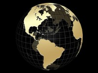 gold globe animation 3d model