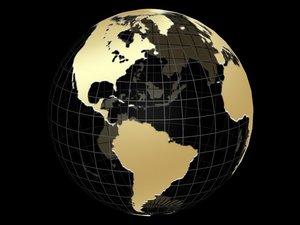 gold globe animation 3d model