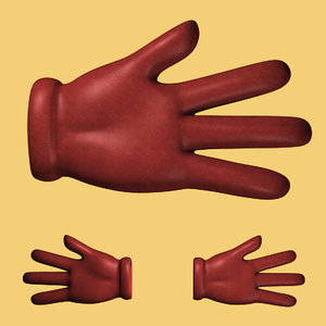 gloved toon hands 3d model