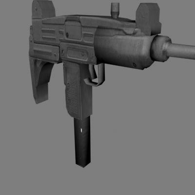 3d uzi machine gun model