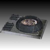 3d model of block spaceship