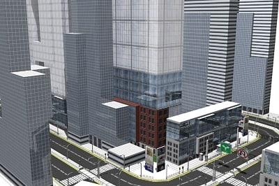 3d office city building 01