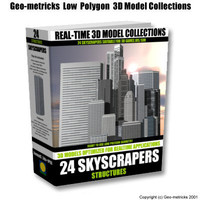 3d 24 skyscrapers w3d shockwave model