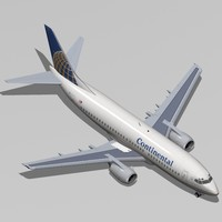 b 737-300 continental airlines 3d max