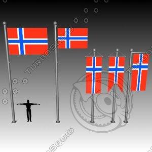 3d model banner flag outdoor