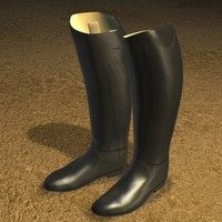3d model of english boots zipped