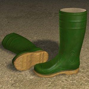 rubber boots zipped 3d model