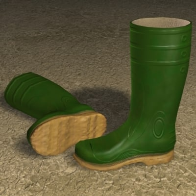rubber boots zipped 3d model
