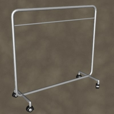 3d model clothes rack zipped