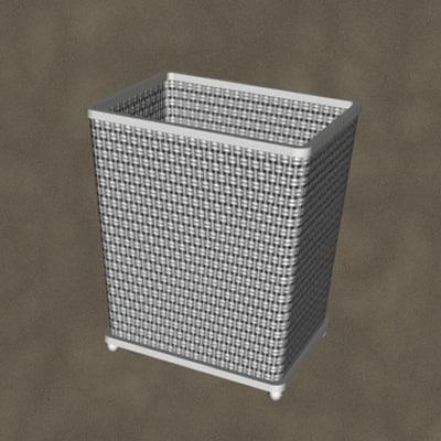 3d model waste basket zipped