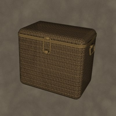 wicker hamper zipped 3d model