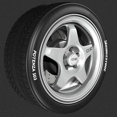 3d 3ds alloy wheel tire