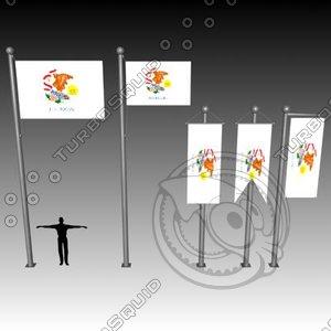 3d flag u model
