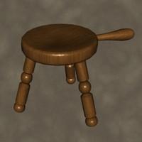 milk stool zipped 3d max
