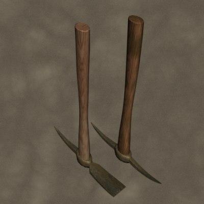 3d model pick axes zipped