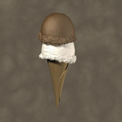 3d ice cream cone zipped model