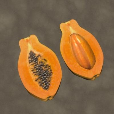 3d cut open papaya zipped