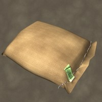 3d model of feed sack zipped