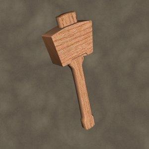 wooden mallet zipped 3d model