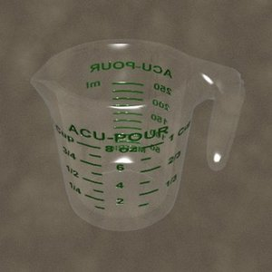 3d measuring cup zipped model