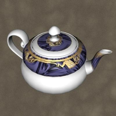 china teapot zipped 3d 3ds