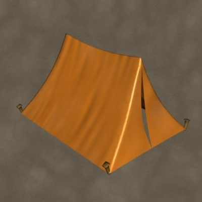 3d camping tent zipped model