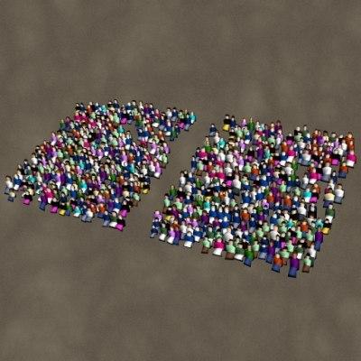 crowd bleacher 3d model