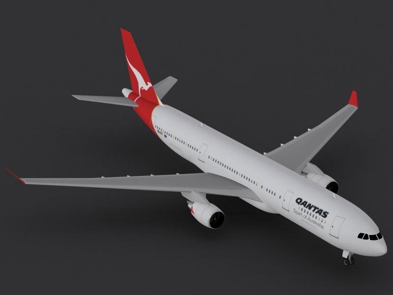 airbus a330-300 qantas 3d lwo