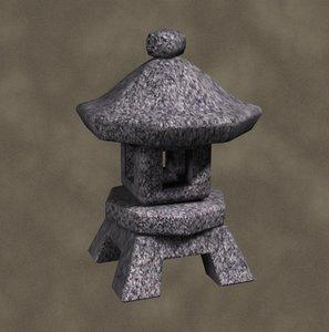 stone lantern zipped 3d model
