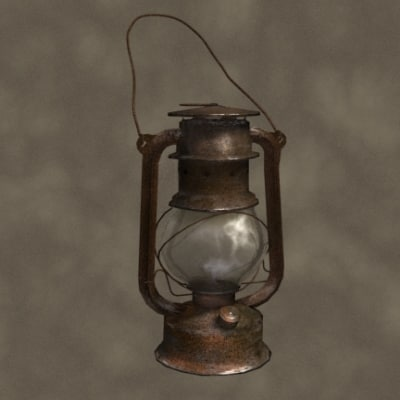 3d oil lamp zipped model