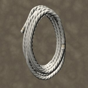 3d model coiled rope zipped