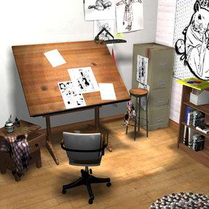 3d cartoonist studio scene