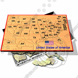 puzzle board usa 3d dxf