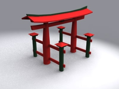 torii itsukushima gateway japan 3d model