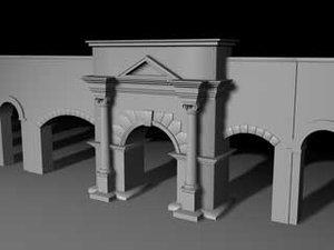 arch city walls 3d model