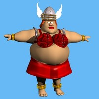 3d cartoon character fat female model
