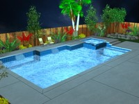 3d geometric swimming pool model