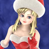 santa claus xmas girl 3d model