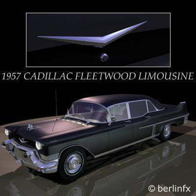 1957 cadillac fleetwood limousine 3d model