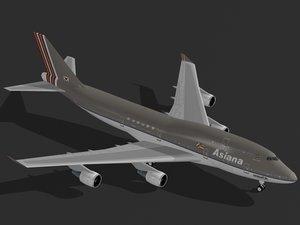 b 747-400 asiana 3ds