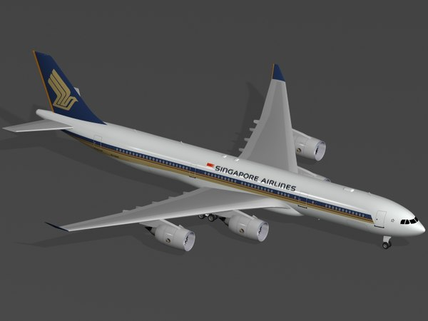 3ds max airbus a340-500 singapore