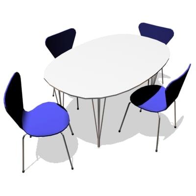 arne jacobsen chair 3107 3d model