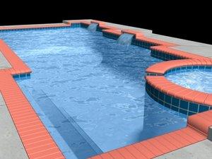 geometric swimming pool 3d max