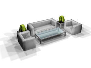 3d grey office furniture glass table